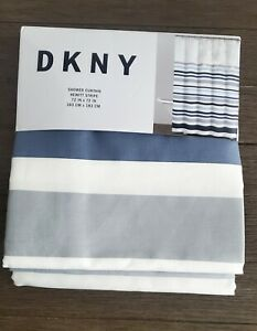 Dkny Hewitt Stripe White Blue Navy Gray Fabric Shower Curtain