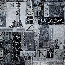 BonEful Fabric Cotton Quilt VTG B&W Gray NYC USA America*n Flag Scenic FQ SCRAP