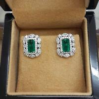 1 TCW Emerald Cut Green Emerald & Diamond 14k White Gold Finish Stud Earrings