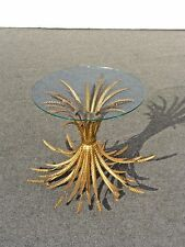 Vintage French Provincial Wheat Sheaf Glass Side End Table Made in Italy 2nd