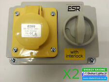 2 X INDUSTRIAL SWITCHED INTERLOCKED SOCKET 110v YELLOW 16a BS4343 SI16314