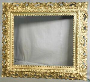 Antique 1885 Picture Frame Baroque Gilt Gesso Reverse Profile not 15x18 GOLD