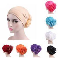 Women Big Flower Hair Loss Head Scarf Turban Cap Muslim Cancer Chemo Hat New ~