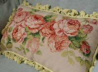 Aubusson Floral Rose Needlepoint Pillow Sham Handmade Tassel Wool New