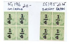 INDIA 1911-22  GEORGE V SG 195 & 196  BLOCKs OF 4 CV  £50