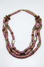 Handmade Chunky Statement Natural Coconut Coco Wood Beads Bib Purple Necklace