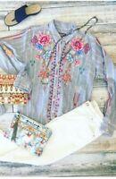 Johnny Was Workshop Amal Handkerchief Embroidered Shirt W19018 New Boho Chic STI
