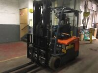 2014 Toyota 3000 LB Electric Forklift 3 Wheel With Triple mast SS/FP