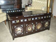 Vintage Black Lacquer Mop Low Cabinet Chest Tv Stand