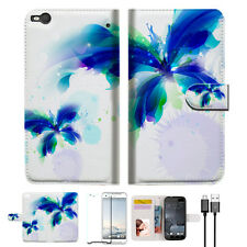 Blue Butterfly Wallet TPU Case Cover For HTC ONE X9 -- A009