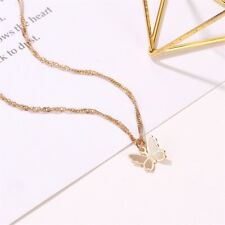 Fashion Small Butterfly Pendant Gold Plated Necklace Lady Jewelry Party Gift HT