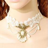 1x Lace Necklace Gemstone Pendant Victorian Chocker Lolita Goth Punk Collar FQHB