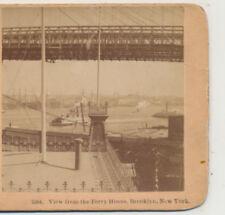 Suspension Bridge from Ferry House Brooklyn NY Gun Camera Stereoview c1890