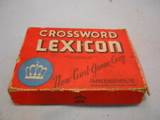 Parker Brothers Crossword Lexicon Game, 1937 w/ Instructions & Monopoly Ad