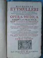 ETTMULLER : OPERA MEDICA (OEUVRES), 1736. 4 volumes in folio complet, 1 planche