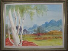 THERESE RYDER HERMANNSBURG FRAMED WC GHOST GUMS CENTRAL AUSTRALIA 1980