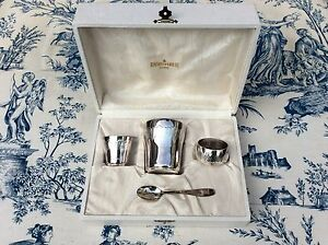 Vintage French Silver Metal Table Set - Cup, Spoon, Napkin Ring (997)