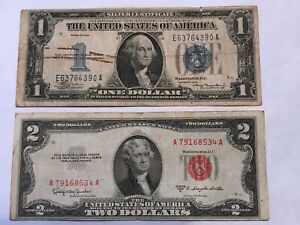 1934 $1 SILVER CERTIFICATE & 1953 C $2 UNITED STATES NOTE - FUNNY BACKS