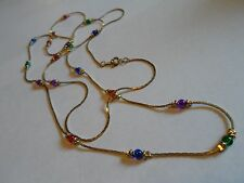 """Gold Tone Mesh Chain Necklace W/Small Multi-Colored Glass Beads, Unmarked, 40"""""""