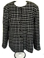 Alfred Dunner Womens Acrylic Longer Black White with Sparkly Beads Jacket Sz. 16