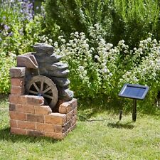 Solar Powered Water Mill Cascade Fountain Outdoor Water Feature
