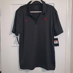 Mens Nike NCAA Oklahoma Sooners Football Polo Grey CD5945 613 Sz L NWT $50