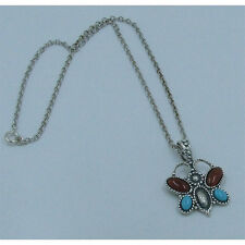.925 Sterling Silver Natural Turquoise Carnelian Butterfly Necklace
