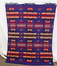 "Pendleton Wool Blend 74"" x 60"" Purple Geometric Blanket"