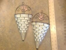 2 White gold copper Hanging Humming bird black wire wall baskets