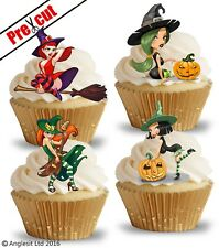 PRE-CUT SEXY WITCHES EDIBLE WAFER PAPER CUP CAKE TOPPERS HALLOWEEN DECORATIONS