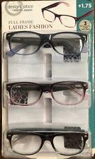 Design Optics Ladies Fashion Full Frame 3 Reading Glasses Cases UV +1.75 *OPEN
