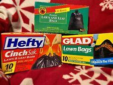 Bundle 39 Gallon Cinch Sak Lawn & Leaf Bags 10 Count Each 30 Total Hefty Glad SR