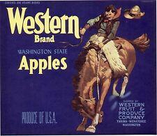 RARE OLD YAKIMA APPLE LABEL: COWBOY RIDING BUCKING BRONCO - WESTERN BRAND