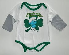SMURFS boys White Green PINCH ME,I DARE YOU Romper Creeper 1-pc Outfit* 3 months