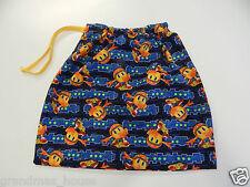 Library Tote Bag Kindy Swimming Drawstring - Pacman - Blue