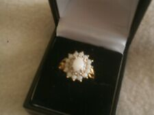 9 carat gold Opal and Diamond ring size o