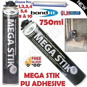 1-10pcs PU Foam Adhesive Plasterboard Insulation Roof Flooring Mega Stik 750ml
