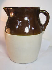 Antique Clay Brown & White Handcrafted Pottery Pitcher, Pot Vessel