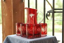 Ruby Red Cut To Clear Bohemian Blood Red w/ Clear Pitcher & Five Tumbler Glasses