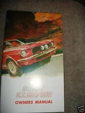 1967 SHELBY COBRA GT350 GT500 OWNERS MANUAL - CORRECT R