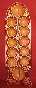 Vintage Russian Folk hand painted fish shape eggs serving tray box