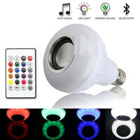 Wireless Bluetooth Speaker Bulb E27 LED Music Player Audio Light Lamp + Remote