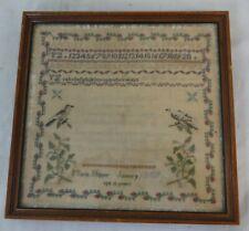 Antique Silk on Linen Verse Sampler Written by Maria Hipper Age 13 Dated 1809