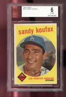 1959 Topps #163 Sandy Koufax Los Angeles Dodgers BVG BGS 6 Graded Baseball Card