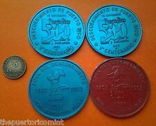 Set 2 MOCA 5to CENTENARIO DESCUBRIMIENTO PUERTO RICO 1993 Roja/Azul & Azul