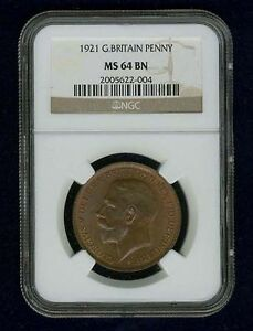 G.B.//ENGLAND  GEORGE V 1921  PENNY, CHOICE UNCIRCULATED, CERTIFIED NGC MS-64-BN