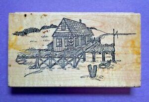 Art Impressions Rubber Stamp Wood Mt Lake House Beach Seascape Dock Q-1478 VTG