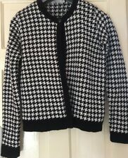 Ladies Black & White Houndstooth Cardigan Size 12  Round Neck Long Sleeve Button