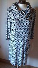 2Teile Schwarz-Weißes Kleid mit Loopschal  Gr M Damen Neuwertig(Maßgeschneidert)