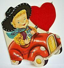Vintage Whitman Valentine Cowboy Driving Car Flocked Red Heart Die Cut Black Hat